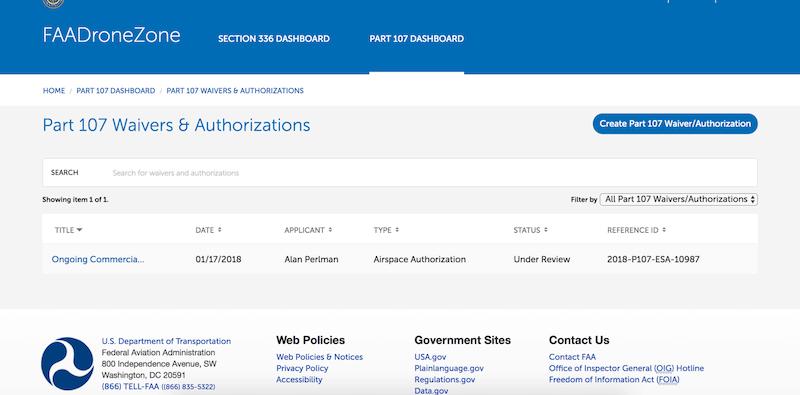 faadronezone airspace authorization application status