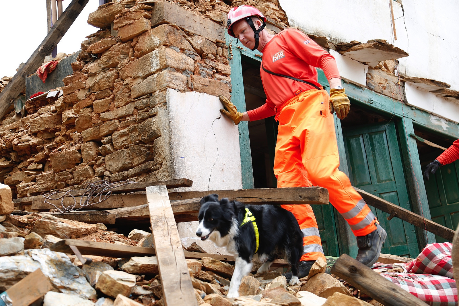 John Ball with rescue dog Darcy in Chautara, Nepal, DFID - UK Department for International Development April 29, 2015