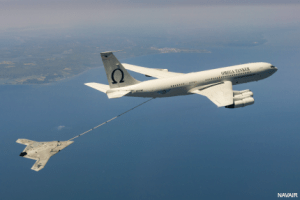 The X-47B receives fuel from an Omega K-707 tanker.