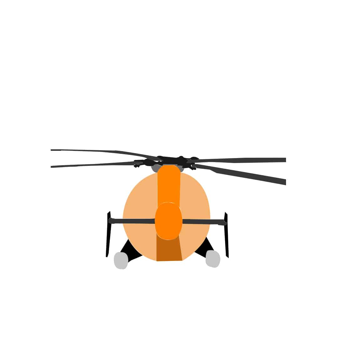 flying RC helicopter: tail-in
