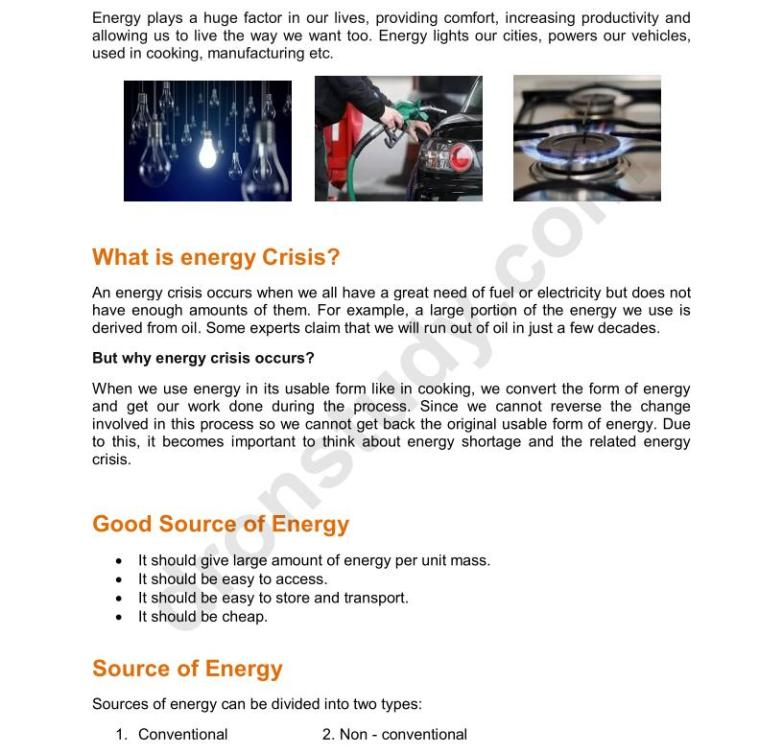 Chapter Notes: Sources of Energy - Class 10 Science