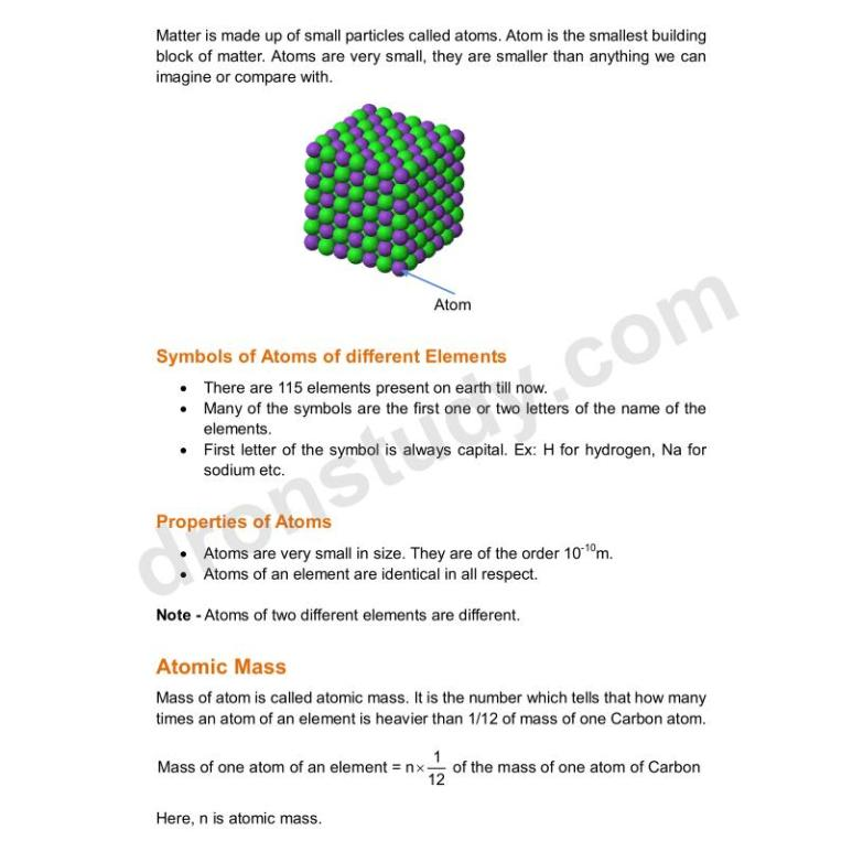 Atom and Molecules : Chapter Notes - DronStudy com