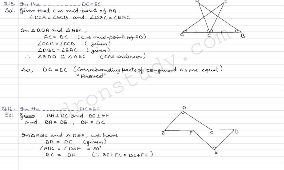 Congruence of Triangles and Inequalities in a Triangle : Ex 5A Q 15
