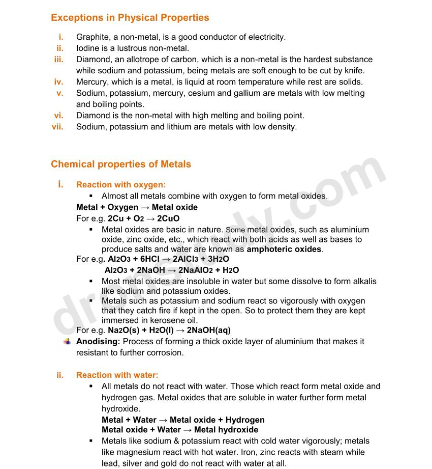 Chapter Notes: Metals and Nonmetals - Class 10 Science