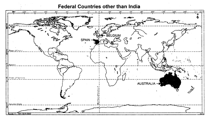 q2 identify and shade three federal countries other than india on a blank outline political map of the world