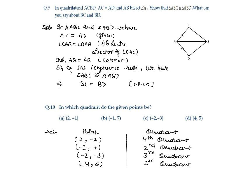 Maths Class 09 : Solution of Practice Paper-1 for SA -1