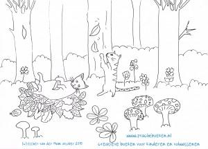 kleurplaat katten in het herfstbos