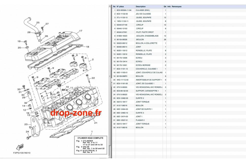 Culasse VX V1 15/ V1 Sport 12-15/ Cruiser 12-15/ Deluxe 12
