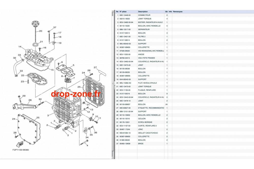 Radiateur d'huile VX V1 15/ V1 Sport 12-15/ Cruiser 12-15