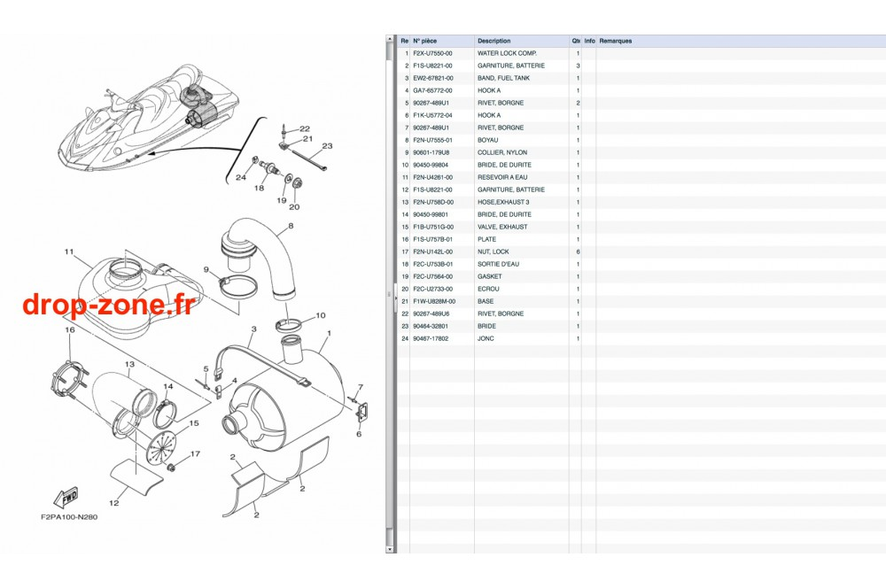 Echappement 4 V1 15/ V1 Sport 15/ VX Cruiser 10-15/ VX