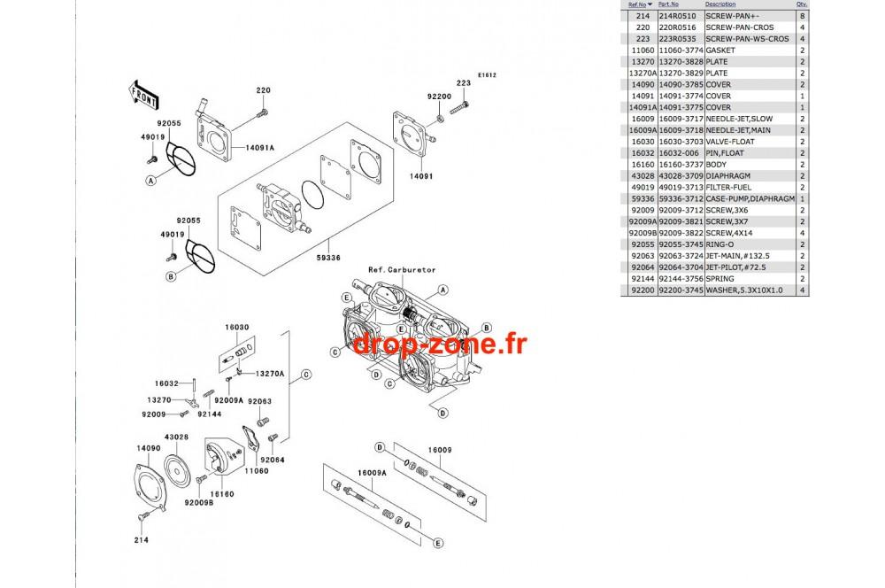 Pièces carburateur SX-R 800 03-11/ X2-R 800 07 › DROP ZONE