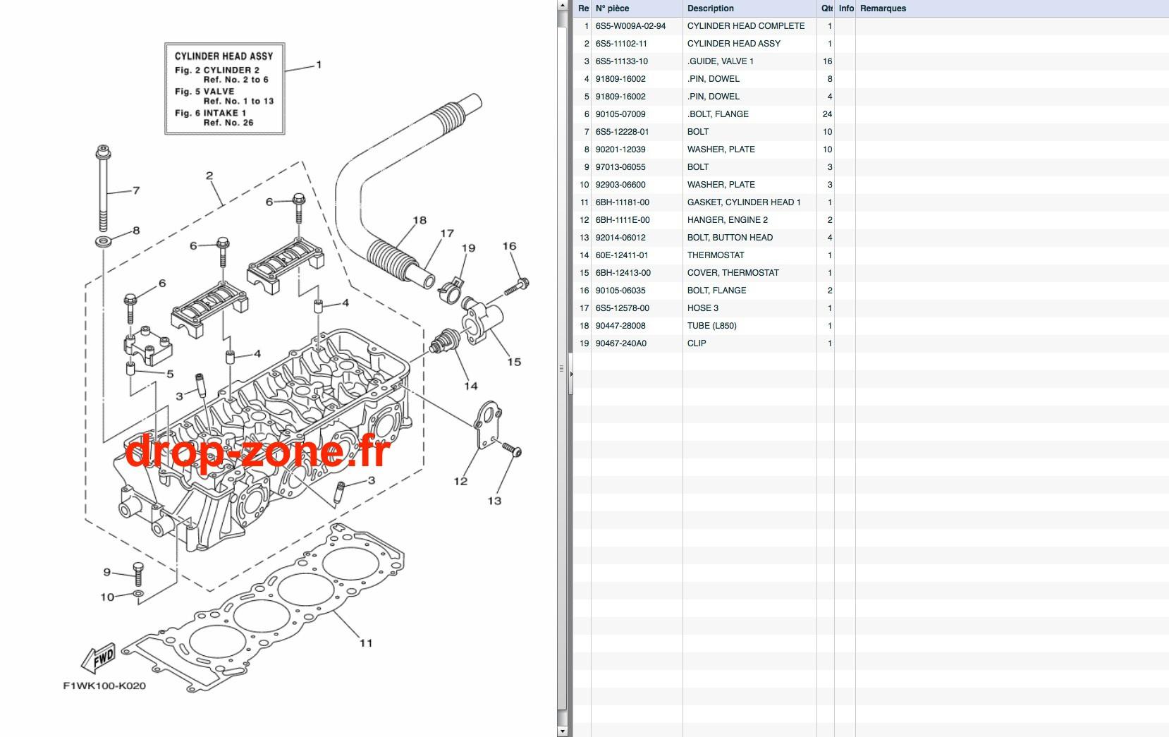 Culasse FX SHO 12-13/ FX SHO Cruiser 12-13/ FZR-FZS SHO 12