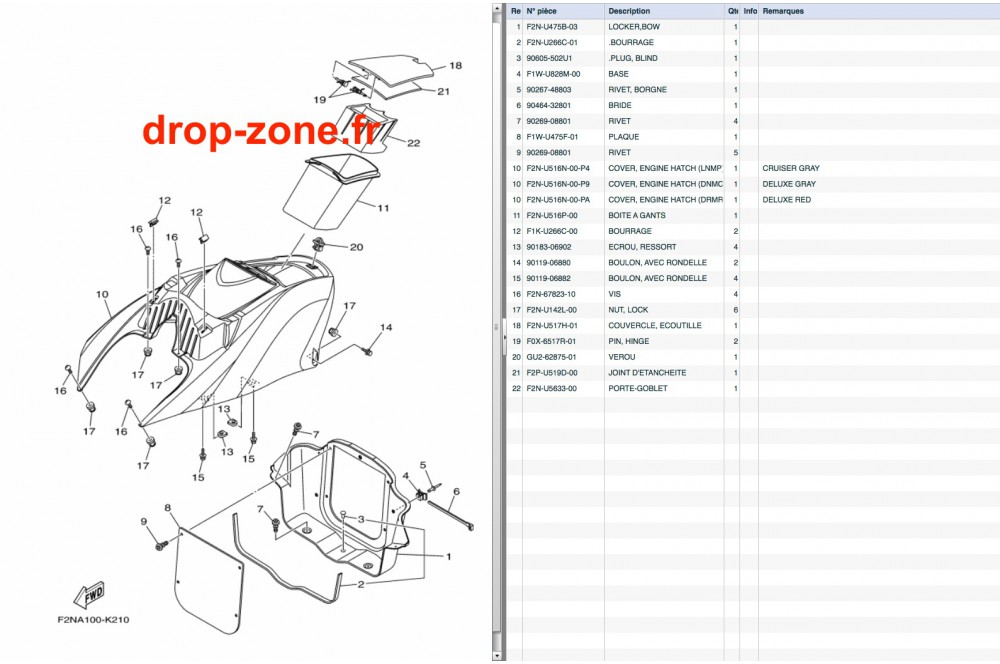 Coque avant VX Cruiser 13/ VX Deluxe 13 › DROP ZONE UNLIMITED
