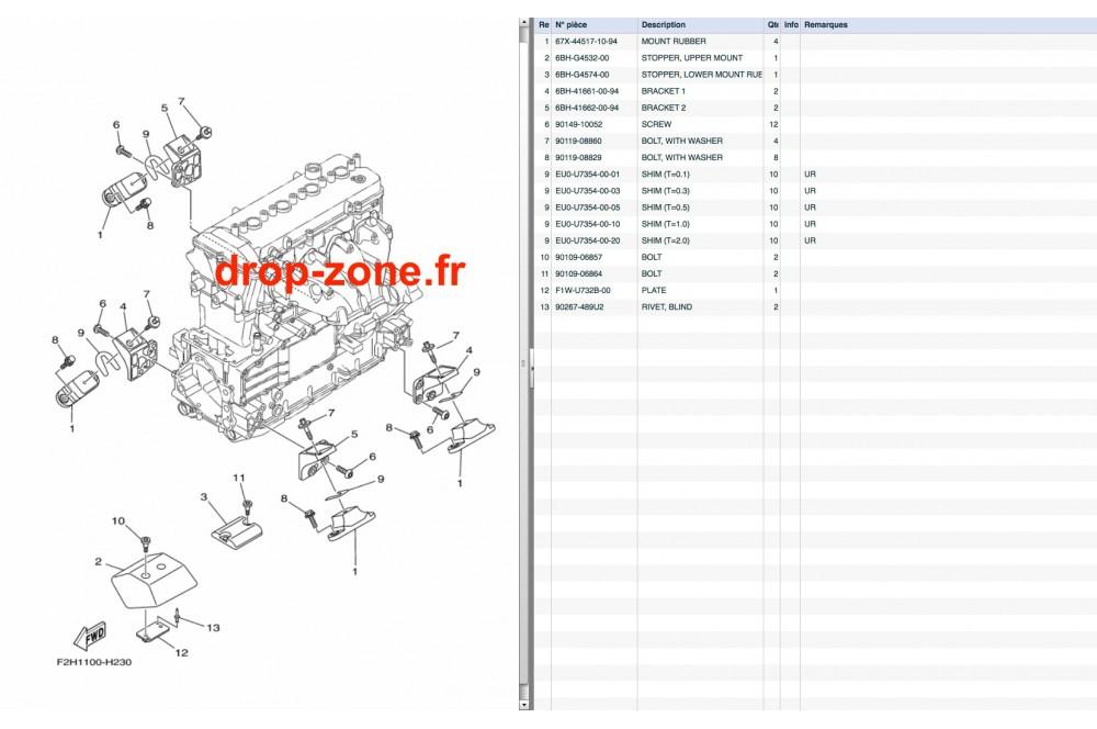Supports moteur FX HO 09-11/ FX HO Cruiser 09-11/ FX SHO