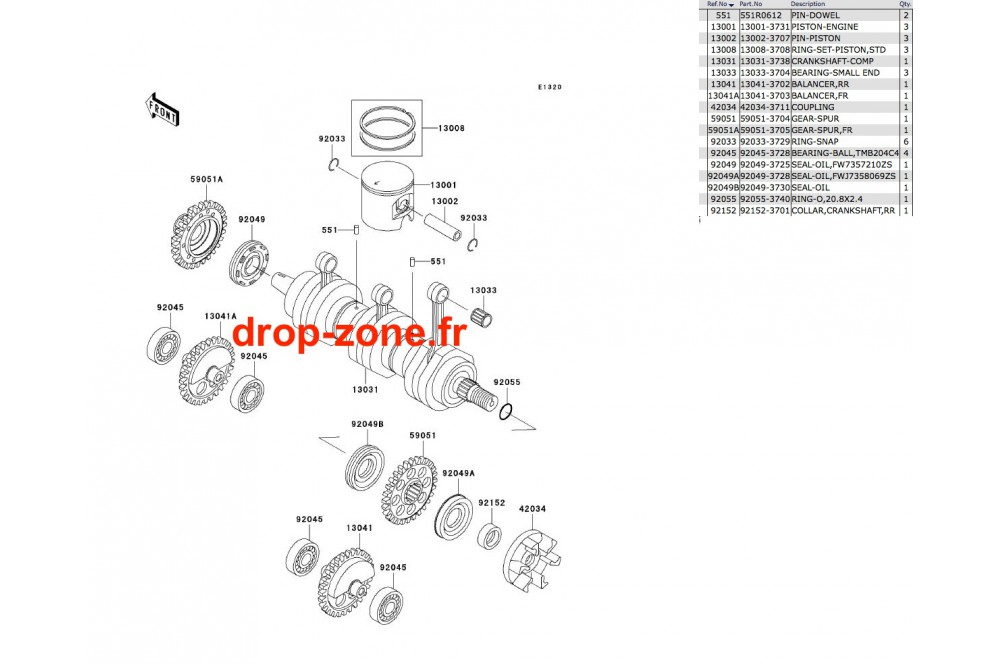 Vilebrequin/ Pistons STX-R 1200 04/ Ultra 150 04 › DROP