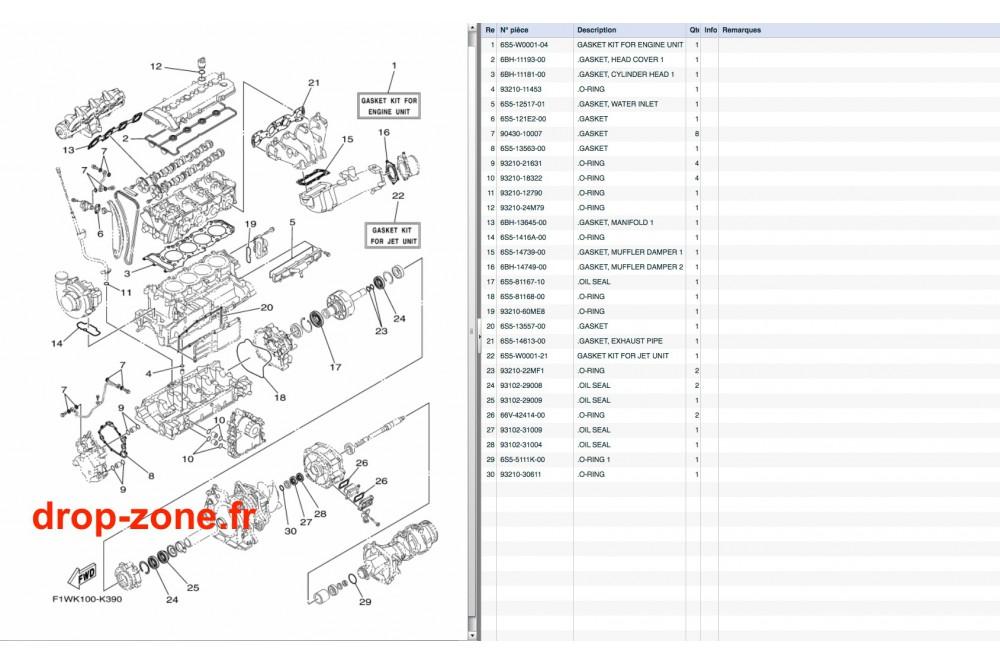 - Kit réparation FX SHO Cruiser 08-11/ FX SHO 08-11/ FZR