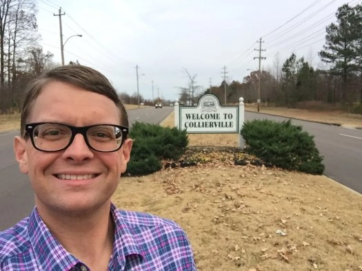 Welcome to Collierville sign w Scott Finney
