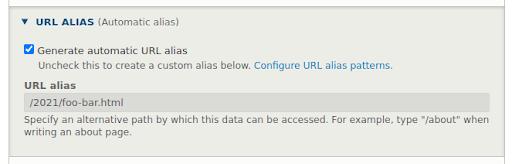 Generating URL alias in the Pathauto module