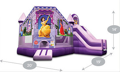 Princess Palace Castle - Inflatable Bouncer with Inflatable Water Slide - side view