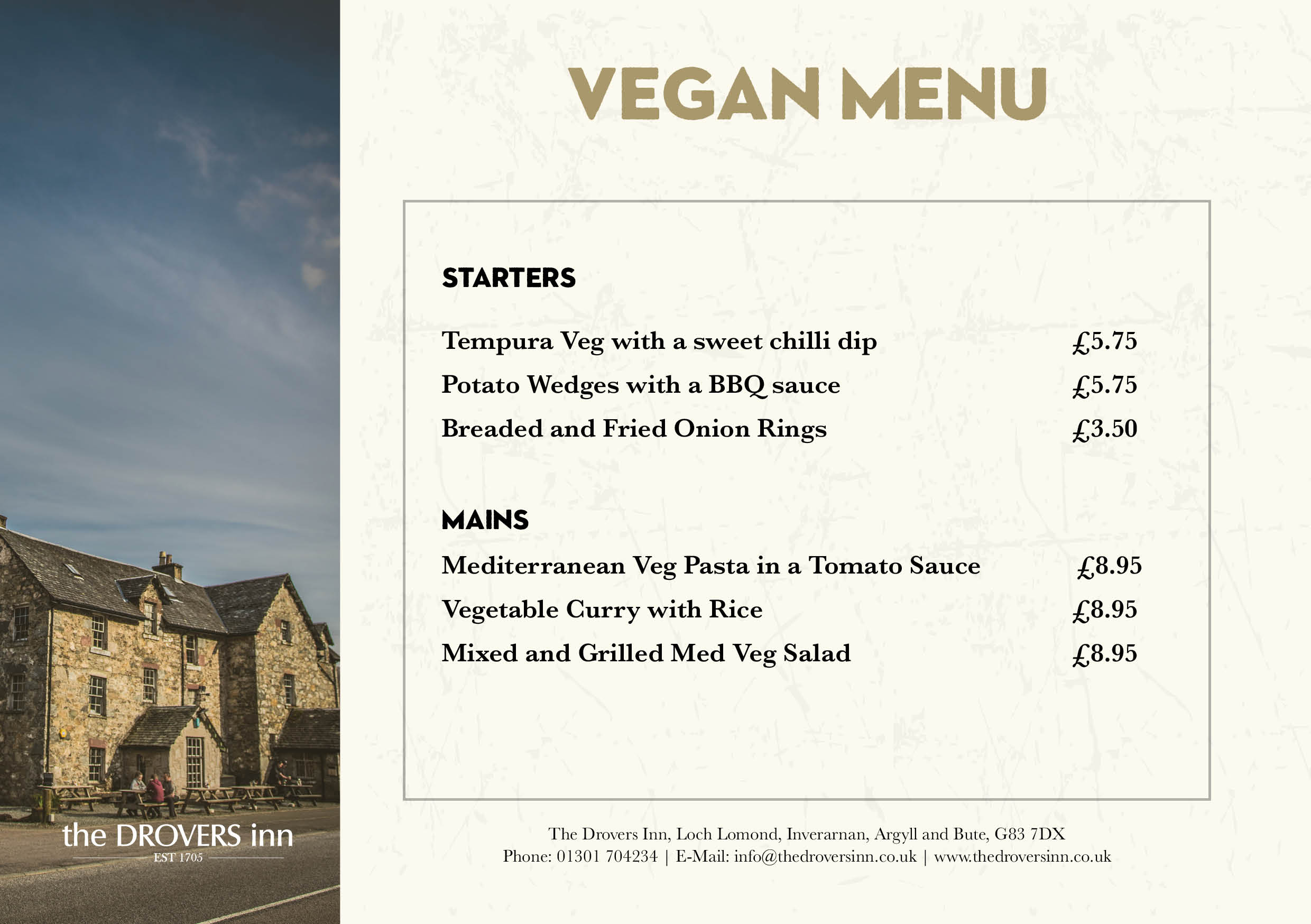 Drovers Inn Vegan Menu