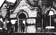 Sketch of the front of the church building