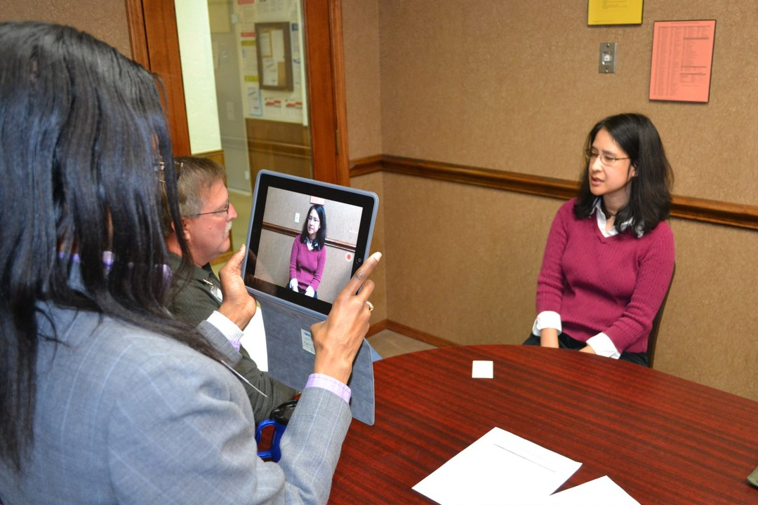 A participant of DRTC's Employment Services Program taking part in a mock interview.