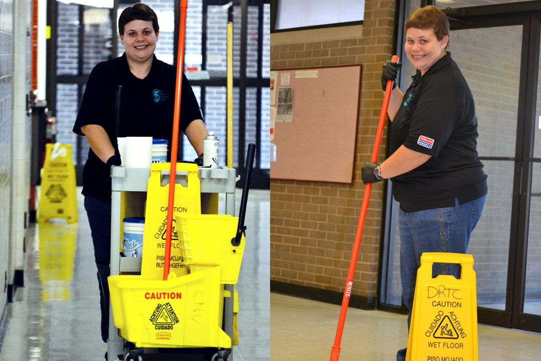 Two pictures of Carrie with her cleaning equipment.