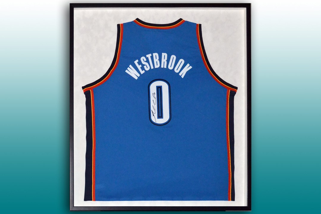 Framed Russell Westbrook jersey.