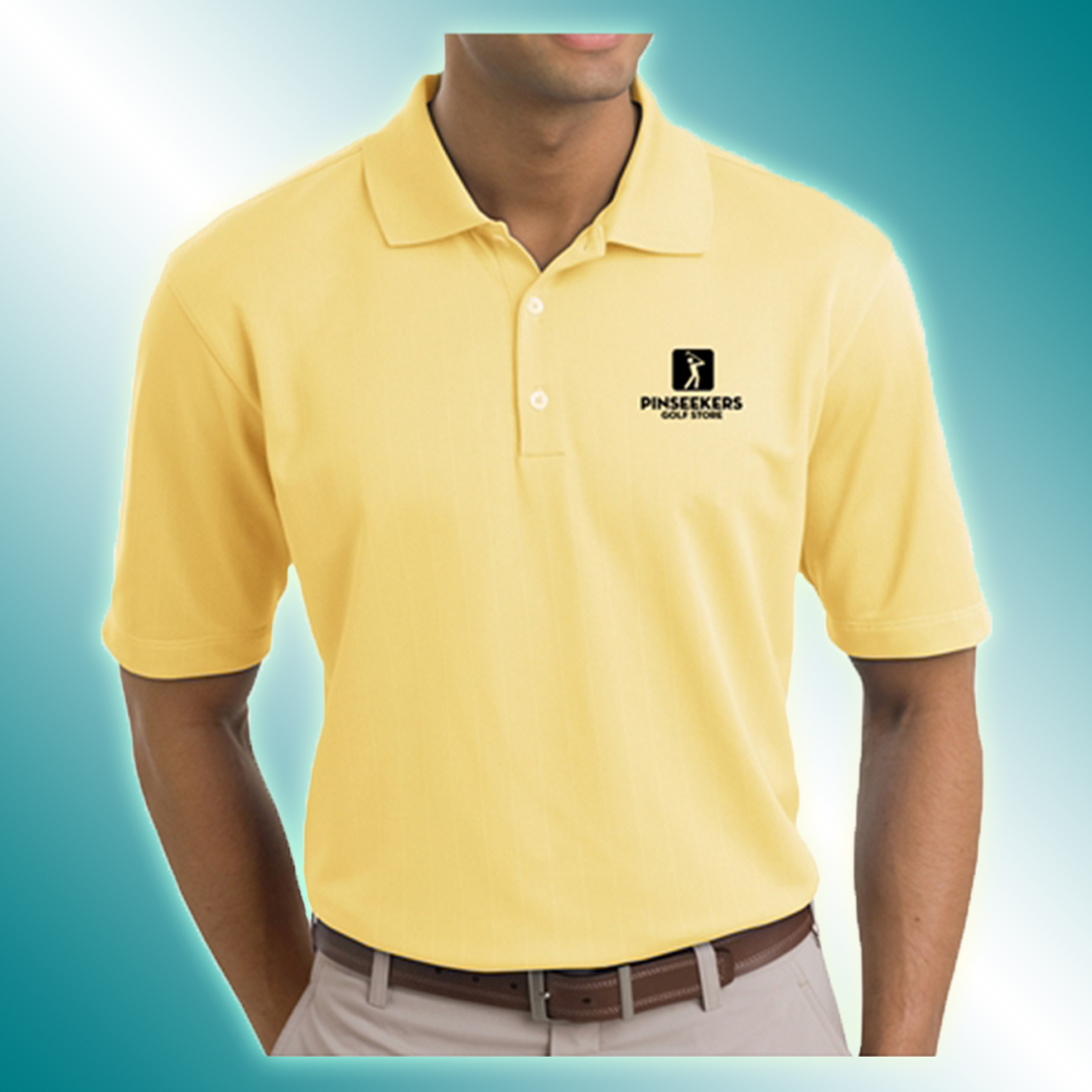 Man wearing a branded yellow polo shirt