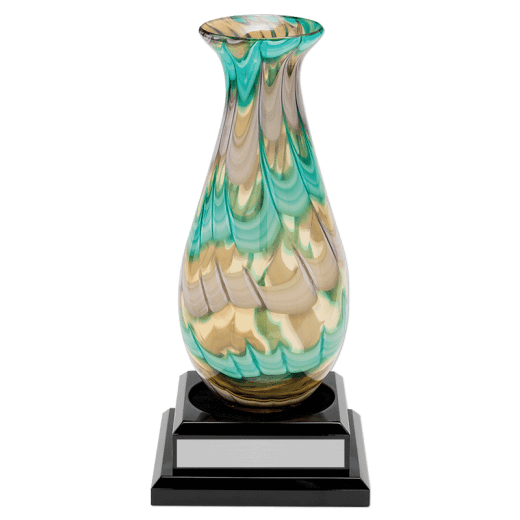 14.5 inch Art Glass Vase with silver name plate