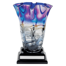 Multi-colored vase on a base.