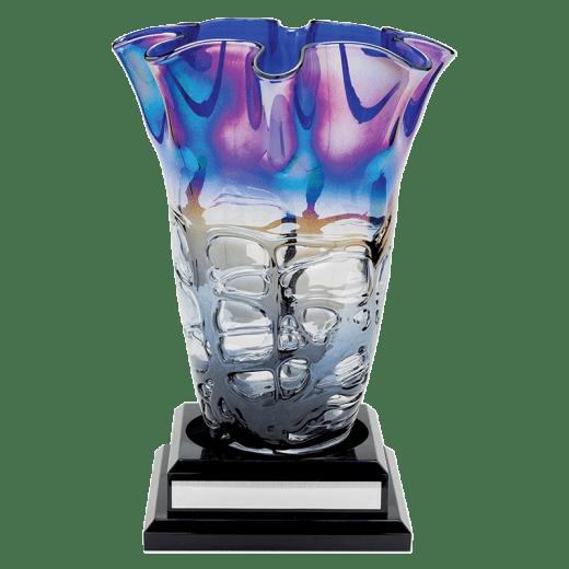 Multi-colored vase on a base.