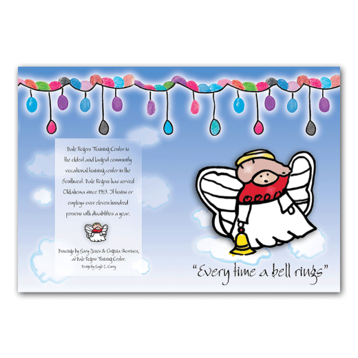 "Outside design of Angel holiday card. ""Every time a bell rings"""