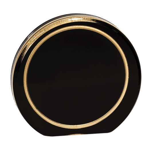 Blank Aurora Acrylic award black with gold ring.