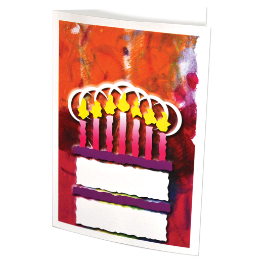 Greeting card with a stylized birthday cake on the front.