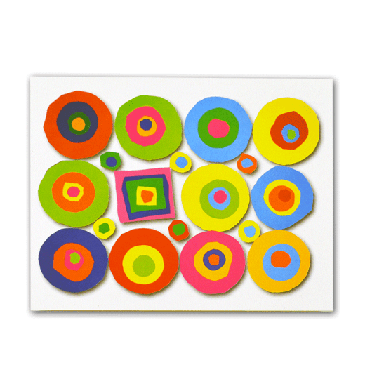 Notecard with circles and square design.