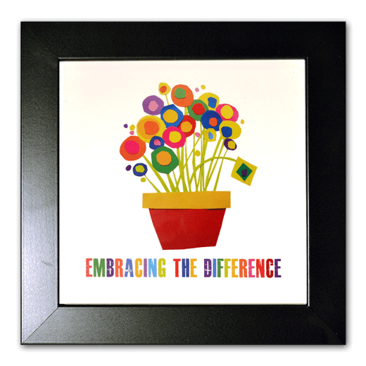 "Framed Flowerpoint image with circles and squares as the flowers. ""Embracing the Difference®"""