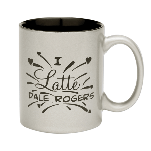 "Silver coffee mug with text ""I latte Dale Rogers."""