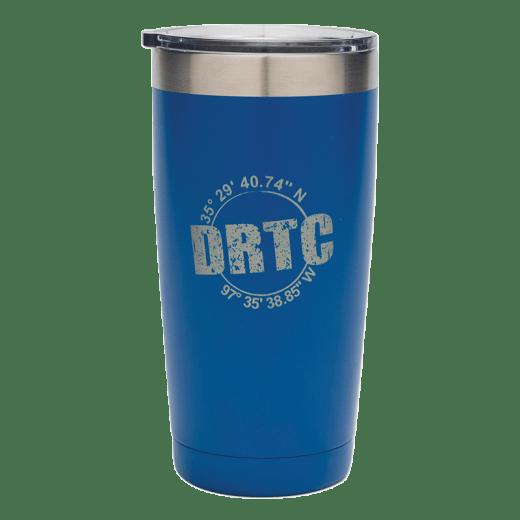 Blue 20 oz tumbler with DRTC's longitude & latitude coordinates.