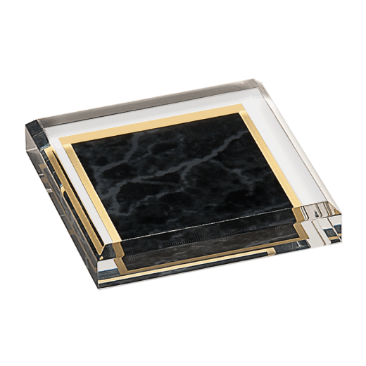 Black marbleized acrylic paperweight.