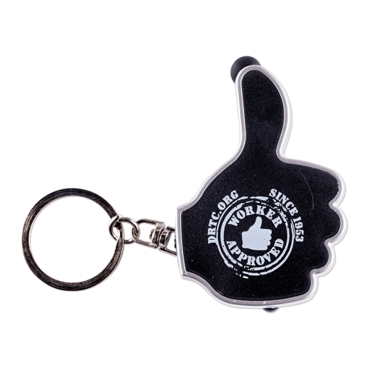 Black-colored thumbs up keyring with the words DRTC.org Since 1953 Worker Approved.
