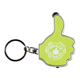 Lime-colored thumbs up keyring with the words DRTC.org Since 1953 Worker Approved.