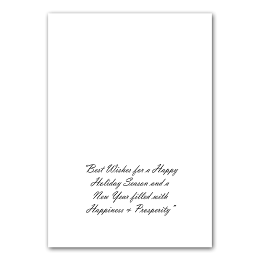 """Inside of Trees holiday card. """"Best Wishes for a Happy Holiday Season and a New Year Filled with Happiness and Prosperity."""""""