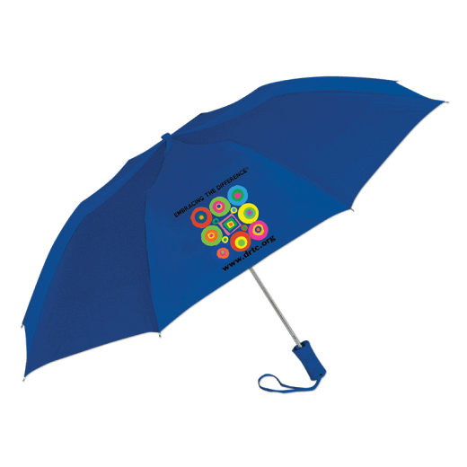 Blue umbrella with DRTC's Embracing the Difference® logo.