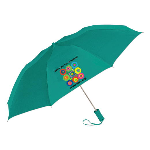Teal colored umbrella with DRTC's Embracing the Difference® logo.
