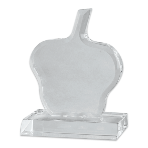 Blank acrylic apple award with a clear base.