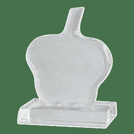 Blank acrylic apple award with a clear base.