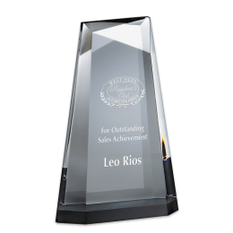 Sample engraving of Ascend Crystal award.