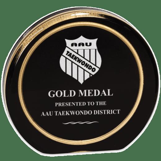 Sample engraving of Black/Gold ring Aurora Acrylic award.