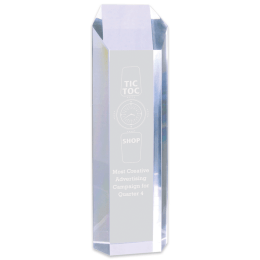 Sample engraving of Clear Tower Acrylic award.